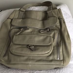 Dusty green huge leather bag